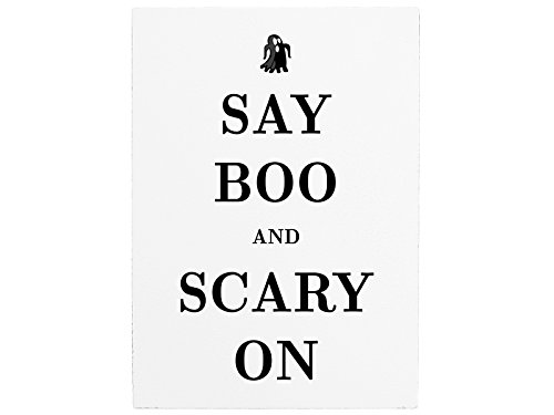 WANDTAFEL Holzschild SAY BOO AND SCARY ON Halloween Herbst Dekoration Spruch