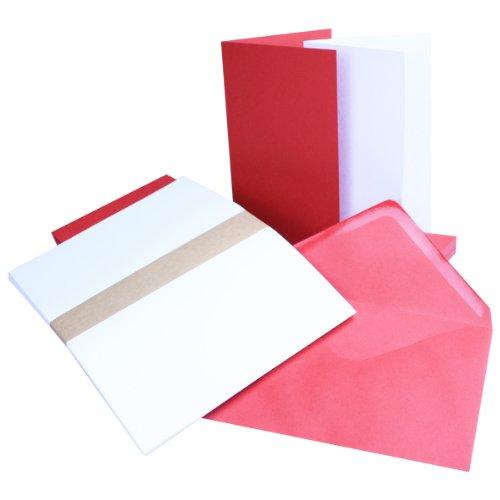 Einladungskarten inklusive Briefumschläge & Einlegeblätter | 25er-Set | Blanko Klapp-Karten in Rosen-Rot | bedruckbare Post-Karten in DIN B6 Format | speziell zum Selbstgestalten & Kreieren
