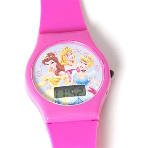 Reloj Digital Disney Princesa Correa Rosado Caliente para Niñas
