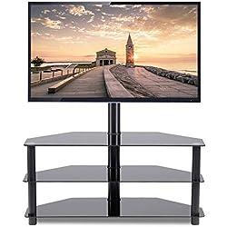 RFIVER Meuble TV en Verre avec Support pivotant Hauteur Réglable pour TV de 32 à 65 Pouces 3 Etagères en Verre Trempé pour Rangement de AV Accessoires Noir TW2002