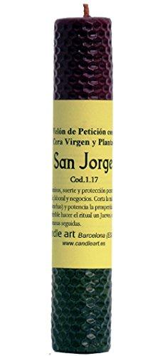 Candle Art Vela San Jorge abrecaminos. Color Rojo, Natural y Verde, Cera de Abeja con Plantas, ritualizada