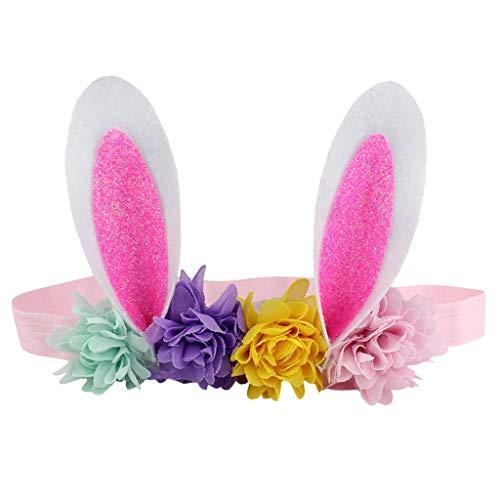 COZOCO 2019 Einfaches und nützliches Stirnband Ostern Babys Stirnband Blume Hasenohren Haarband Ostersonntag Multicolor Mehrfarbig D