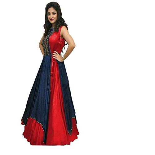 Chirag Enterprise Lehenga Choli Banglorey Silk Febric With Semi-Stitched Blouse Piece. (Red)