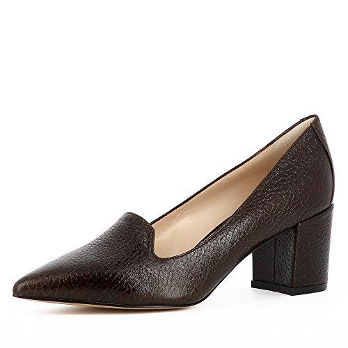 Evita Shoes Romina Damen Pumps Genarbtes Leder Dunkelbraun 35