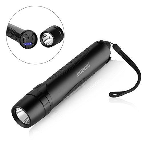 Foto Suaoki Power Bank 10400mAh Torcia a LED Impermeabile Ricaricabile con Micro Cavo USB, Taglia Cintura e Martelletto d'Emergenza
