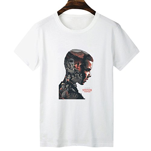 Yuanu Hombre Suave Cómodo Casual Straight Camiseta Manga Corta Cuello Redondo T-Shirt con Temática Impresión Sobre Stranger Things Impresión Estilo 9 S
