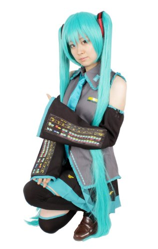 10 point full set wig with hair net leek with Hatsune Miku Cosplay Costume Size L (japan (Cosplay Uk Kostüm Miku Hatsune)