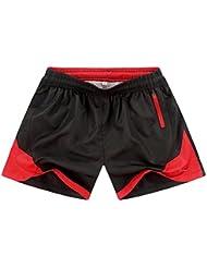 PZLL Pantalones de playa casual moda masculina, los estudiantes correr pantalones, shorts rectos sueltos , black , m