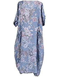 ab429ebc8cb LushStyleUK New Ladies Italian Floral Pocket Lagenlook Dress Women Linen  Dress Plus Sizes