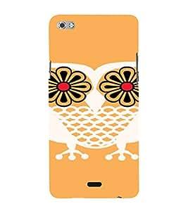 PrintVisa Flower Owl Art 3D Hard Polycarbonate Designer Back Case Cover for Micromax Canvas Sliver 5 Q450