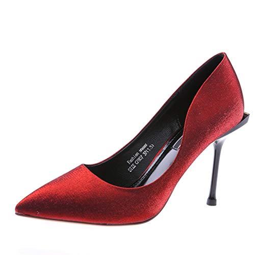 HOESCZS Red Hochzeit Schuhe 2019 Frühling und Herbst Neue Spitze Satin Stiletto Heels Leoparden flachen Mund Schuhe,38,rot Leopard Satin-heels