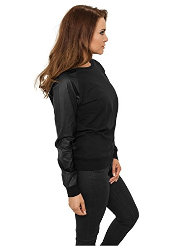 Urban Classics Damen Sweater Leather Imitation Wideneck Crew Black/black