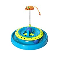 Cat Toy Interactive Play 2 in 1 Mouse Teaser  Ball Track Chase Wand Motion Toys for Cats Kitten 20.6X25.3CM