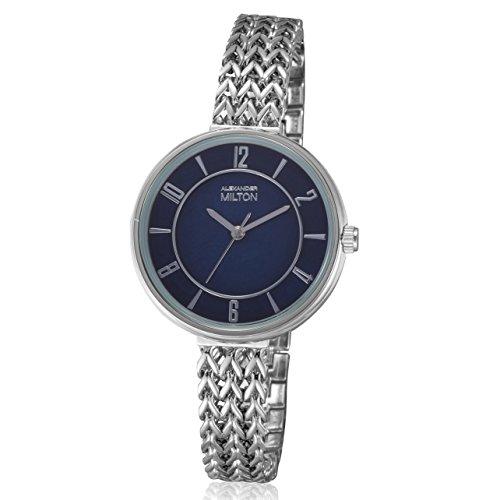 ALEXANDER MILTON - montre femme - MINERVA, argente/bleu