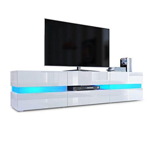 Meuble TV Armoire basse Flow, Corps en Blanc haute brillance / Façades en Blanc laqué haute brillance avec éclairage LED