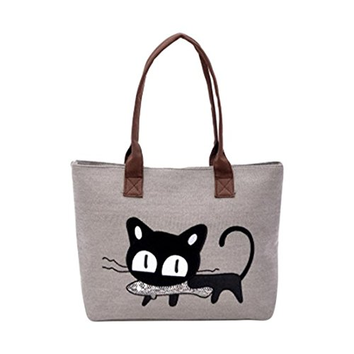 New Frauen Schultertasche Leinwand Tasche Cute Cat Tasche Büro Lunchtasche Schultertasche Einheitsgröße grau (Sling-stil-umhängetasche)