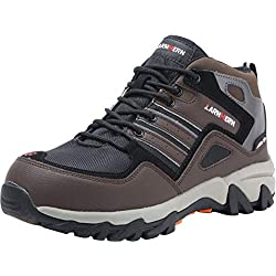 Botas de Seguridad con Punta de Acero para Hombres, Zapatos Altos antipinchazos industriales y arquitectónicos LM-109 (44 EU, Marrón)