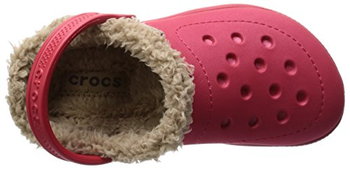 Crocs Hilo Lined Clog Kids, Zoccoli e sabot, Unisex - bambino Rosso (Pepper/Tumbleweed)