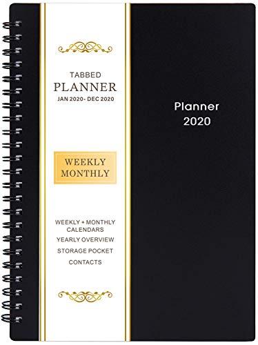 Agenda 2020 - Hebdomadaire Mensuel Planificateur, 21 Pages de Notes, Poche Intérieure Bilatérale, 5'x 8'