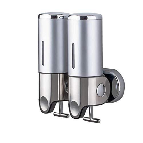 ddmlj Doppelkopf-Seifenspender Mit Handhebel Zur Wandmontage Shampoo-Duschgelbox Aus Edelstahl Mit Großem Fassungsvermögen-5