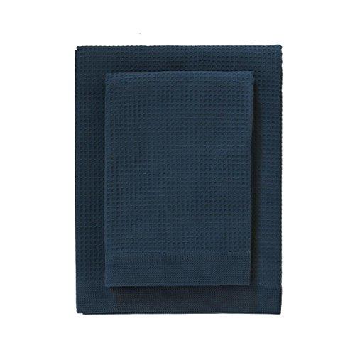 Set 1+1 zucchi solotuo asciugamani+ospite in tela nido d'ape puro cotone n173 blu