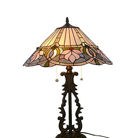 Retro Tischlampe, Nuomeiju @ NMJ008, mit Metall und Glasmalerei Schatten