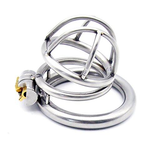 Yocitoy Casco de casti-dad masculina de metal hecha de 304 acero inoxidable Cinturón de gallo mecanismo de casti-dad de bloqueo del Pe-ne con 3 anillos de tamaño (40mm de longitud de la jaula) LSY4-40