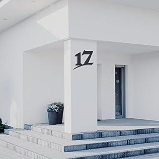 Hausnummer 17 ( 30cm Ziffernhöhe ) in Anthrazit-grau, schwarz oder weiß, 6mm stark aus Acrylglas - Original ALEZZIO Design - Rostfrei, UV-beständig und abwaschbar, Anthrazit wie Pulverbeschichtet RAL 7016, mit Montageschablone