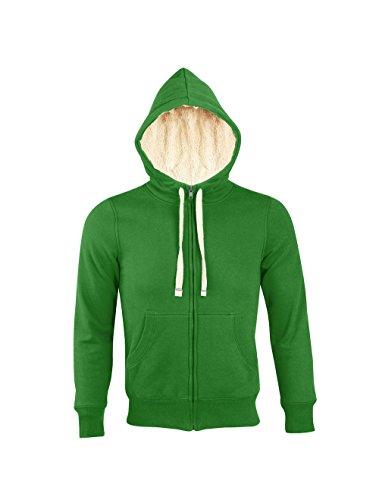 L482-D Sherpa Damen Sweatjacke gefüttert Sweatshirt Jacke Bud Green