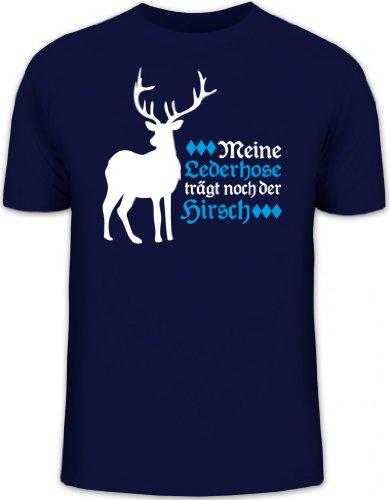 Lederhose trägt noch der Hirsch, Oktoberfest Wiesn Funshirt, Größe: XL,dunkelblau (Halloween Lederhosen)