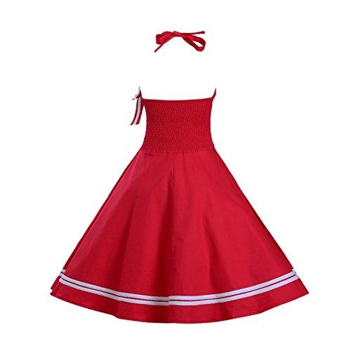 Dissa DP02 Damen Mode Rockabilly Swing Kleider Rot