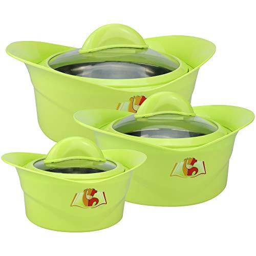 WELLGRO 3er SET Thermoschüsseln inkl. Glasdeckel - mit Edelstahleinsatz, 500/1000/1500 ml, Grün, Kunststoff/Edelstahl, doppelwandig