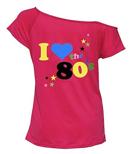 (Womens ich Liebe 80er Jahre Kostüm Top Damen Retro-Partys Popstar T-Shirt Top 1980er Jahre Party Top Henne Nacht Hirsch tun (Rosa, XXL 48-50))