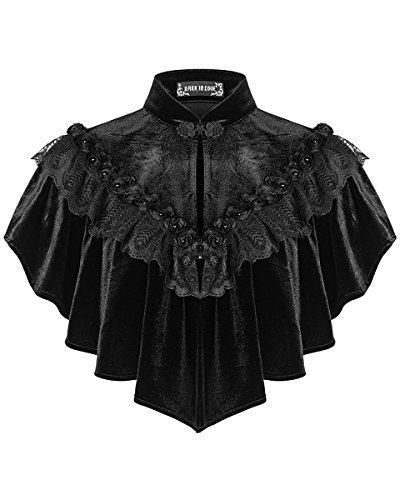 Dark In Love Damen Gotik Schulterjacke Umhang schwarz SAMT Schal Steampunk Vintage viktorianisch -...
