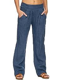 Zarlena pantalon en lin Femme en tissu léger sarouel bande stretch à la taille