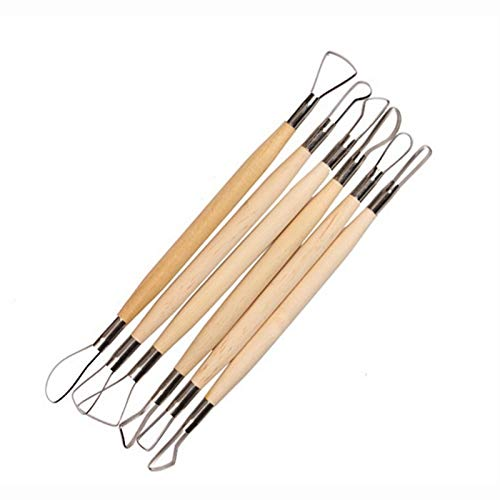 Toy Sculpture - 6pcs Set 8 Inch Double End Conventional Ribbon Wood Handle Wax Pottery Clay Sculpture Carving Diy - Direct Tool Tray Cart Parts Organizer Storage