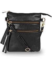 Qawach Black Color Women's Leather Sling Bag - B07GN3N3R2