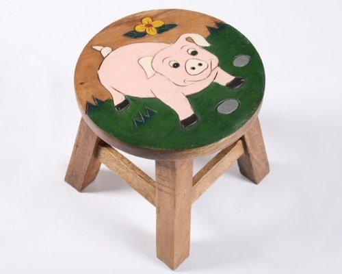 handgefertigter Kinderhocker Kinderstuhl aus massivem Holz, versch. tolle Tiermotive (Paul: das Schwein)