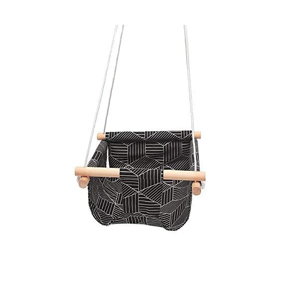 Portable Hanging Seat Hammock for Toddlers Black Stripe HB.YE Handmade Safety Canvas Baby Swing Chair Indoor Outdoor Baby Hammock Chair