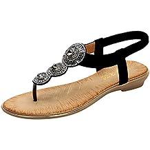 HuaMore, Sandalias Mujer Verano 2019, Bohemio,Rhinestone Sandalias Planas Comodos,Rosa Zapatos