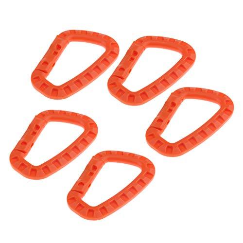 B Baosity 5pcs D-Form Karabiner Haken Kunststoff Schlüsselanhänger Karabinerhaken - Orange