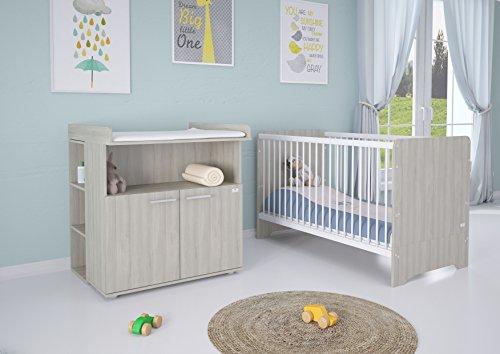 Polini Kids Kinderzimmer 6-teilig Kinderbett mit Wickelkommode und Matratze