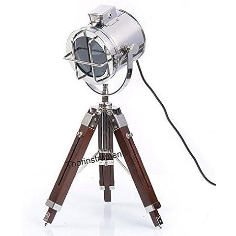 Thor Strumenti.Co Vintage Design da faretto treppiede lampada da comodino lampada da tavolo Home Decor Argento