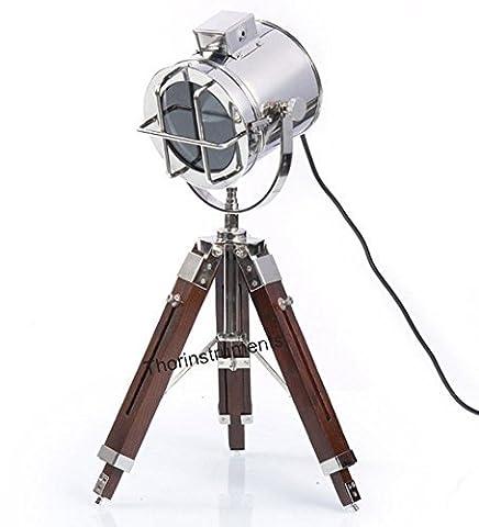 Thor Instruments. Co Vintage Étui à rabat de Spot trépied Lampe de chevet lampe de table Home Decor Argent