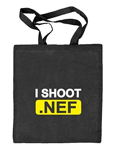 Shirtstreet24, I Shoot NEF, Kamera Camera Natur Stoffbeutel Jute Tasche (ONE SIZE), Größe: onesize,schwarz natur - Bio-baumwolle Cami