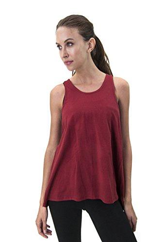 SATVA Bio Baumwolle Yoga inspiriert Odette Racerback Tank Top mit offener Rückseite, Burgund, Klein (Burgund Werfen)