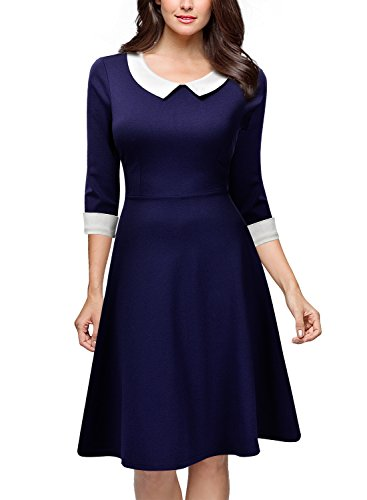 Miusol® Damen Knielang 1/2 Arm Rundhals Vintage Kleid Abendkleid Rockabilly Festlich Kleider Blau Gr.M - 3