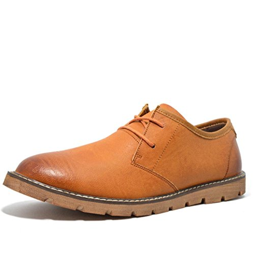 WZW Herren casual Retro Runde niedrig geschnittene Leder Schnür Schuhe Brown