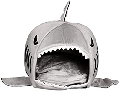 Cat Sister Colorfulhouse Shark Round House Puppy Bed with Pet Bed Mat