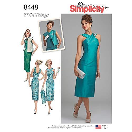 Simplicity 8448Pattern 8448 Patron de Robe Vintage pour Femme avec Gilet doublé ou Non doublé Blanc Taille 44 à 50